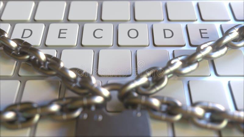 ODSZYFROWYWA tekst na kluczach klawiatura z kłódką i łańcuchami Ograniczenie powiązany konceptualny 3D rendering ilustracja wektor