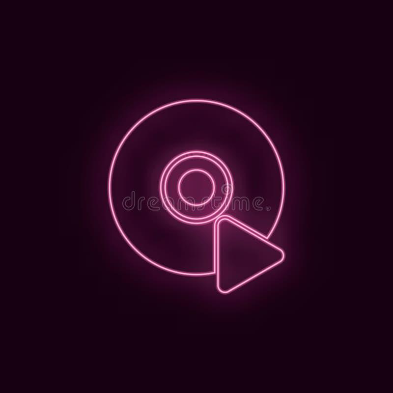 Odtwarzacz CD, neonowy, ikona Teatru rubinowego koloru ui ux neonowa ikona Teatru logo szyldowy wektor - wektor royalty ilustracja
