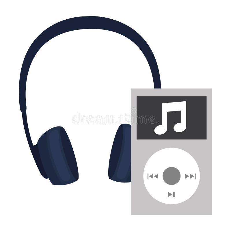Odtwarzacz mp3 z słuchawka przyrządem ilustracja wektor