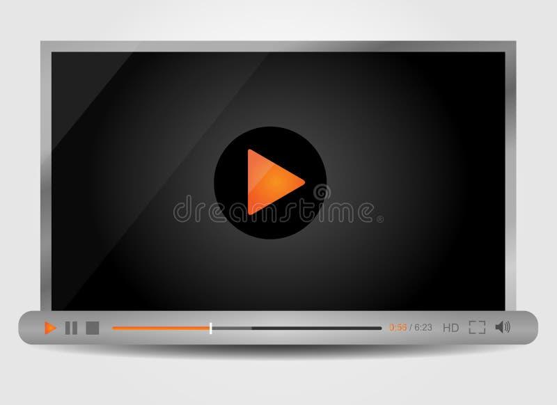 Odtwarzacz wideo dla sieci, minimalistic projekt ilustracja wektor