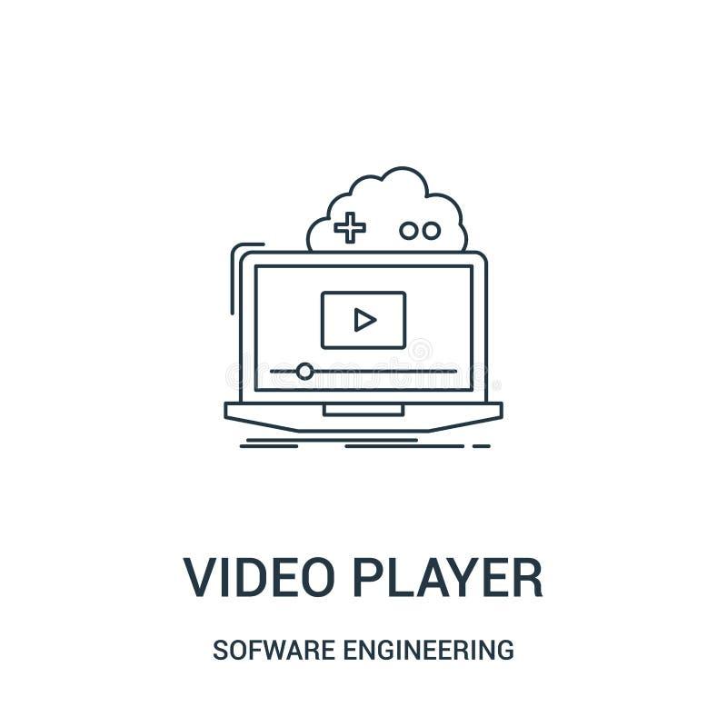 odtwarzacz wideo ikony wektor od oprogramowanie inżynierii hazardu wideo kolekcji Cienka kreskowa odtwarzacz wideo konturu ikony  royalty ilustracja