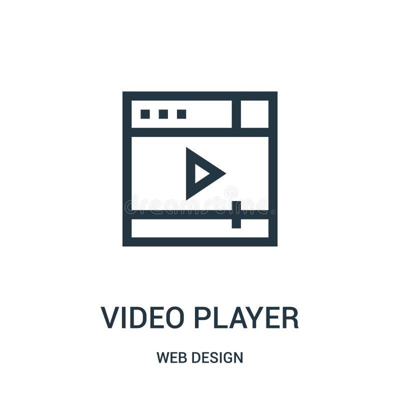 odtwarzacz wideo ikony wektor od sieć projekta kolekcji Cienka kreskowa odtwarzacz wideo konturu ikony wektoru ilustracja ilustracji