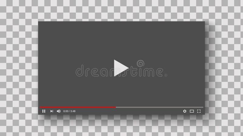 Odtwarzacz wideo interfejsu mockup szablon dla sieci i wiszących ozdób apps, ilustracja wektor