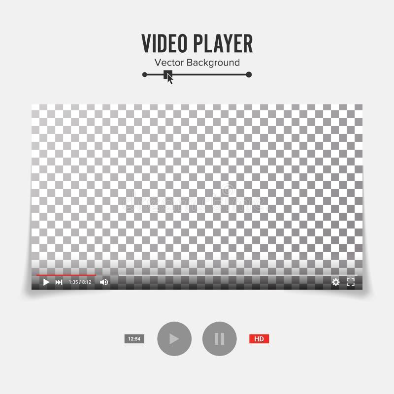 Odtwarzacz Wideo interfejsu szablonu wektor Dobry projekta puste miejsce Dla sieci Apps I wiszącej ozdoby ilustracja wektor