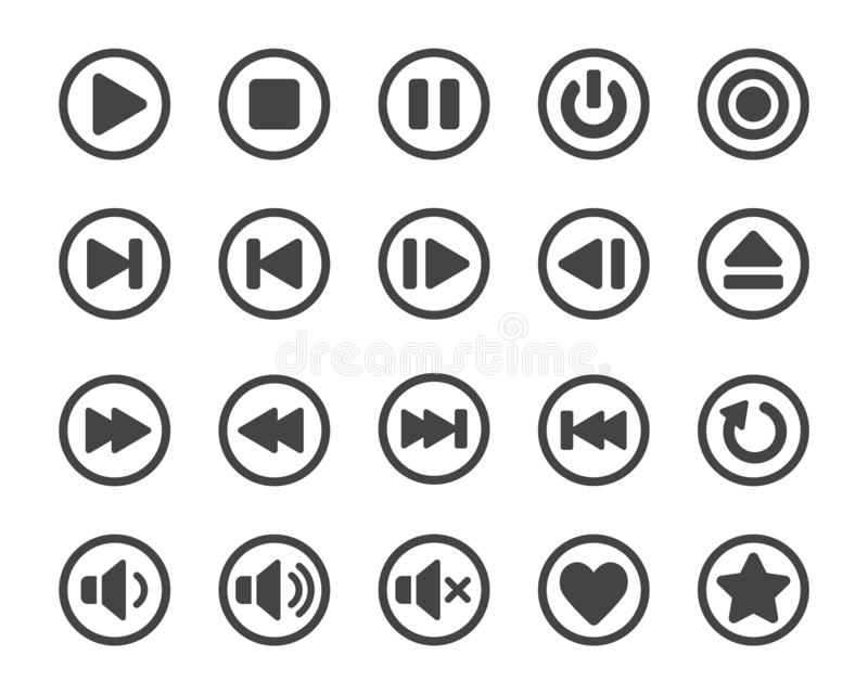 Odtwarzacza medialnego guzika ikony set ilustracja wektor