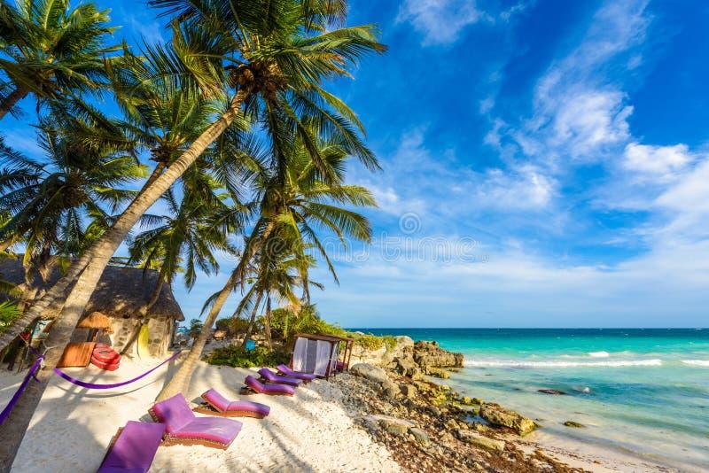 Odtwarzanie przy raj miejscowością nadmorską z turkusowymi wodami morze karaibskie przy Tulum, blisko do Cancun, Riviera majowie, obraz stock