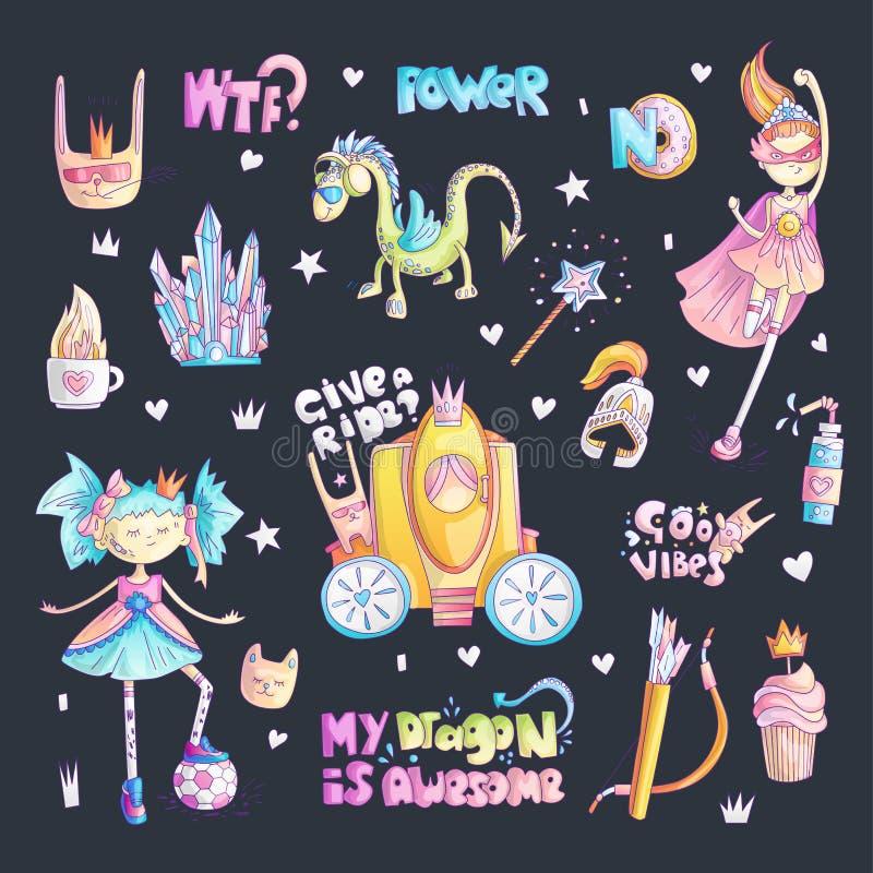 Odważnego tomboy princess kreskówki wektorowy set Princess magia i feminizm ilustracja, mała nastoletnia dziewczyna z piłką, prin ilustracja wektor