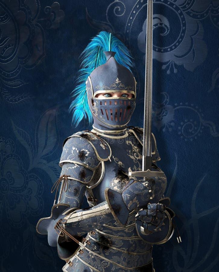 Odważny średniowieczny rycerz z pięknymi niebieskimi oczami ilustracji
