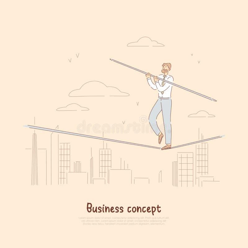 Odważny biznesmen, balansowaniego na linie piechura mienia kij, sztandar, niestały kariery pozycji, równowagi i koncentracji, ilustracja wektor