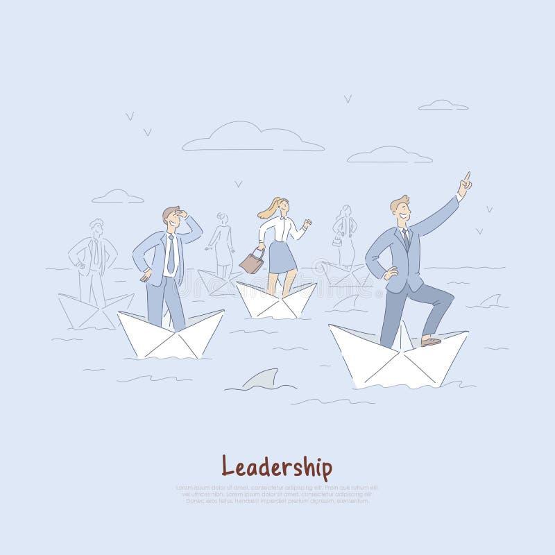 Odważny biznesmen i pracownicy żegluje na papierowych łodziach, rozwój biznesu metafora, przywódctwo zdolność sztandar royalty ilustracja