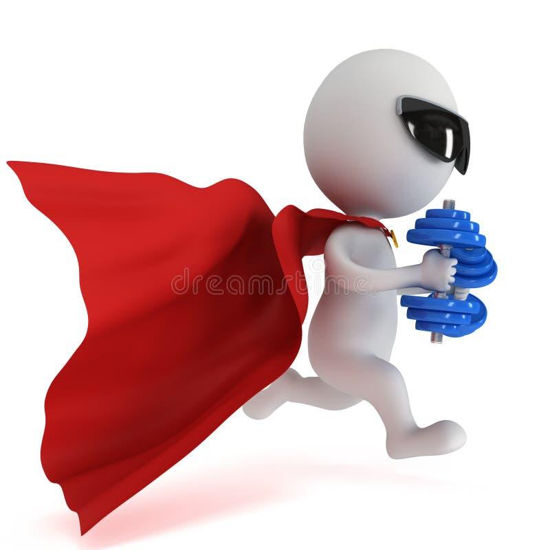 Odważny bohater biegający z dumbbells ilustracja wektor