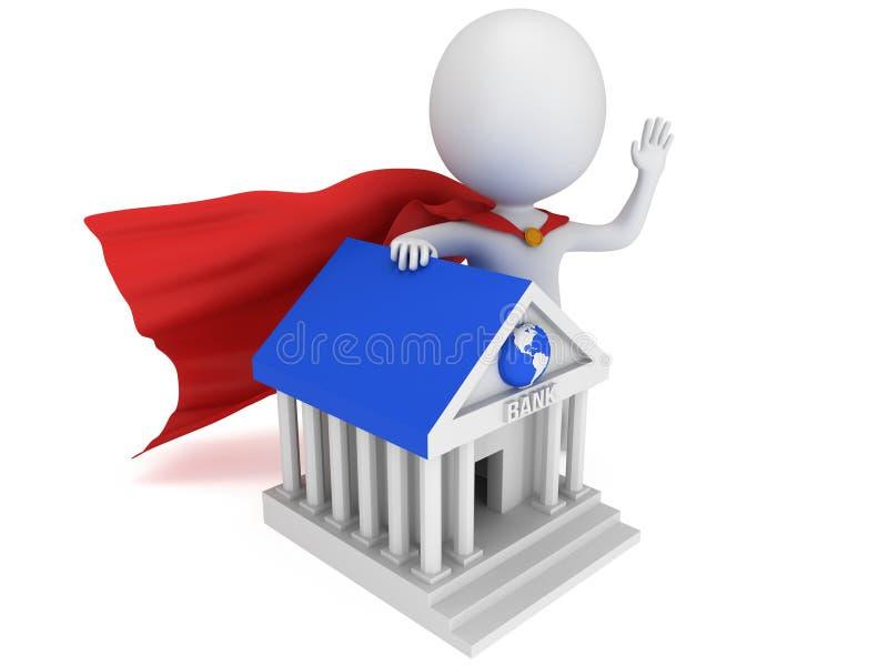 Odważny bohater i bank światowy ilustracja wektor