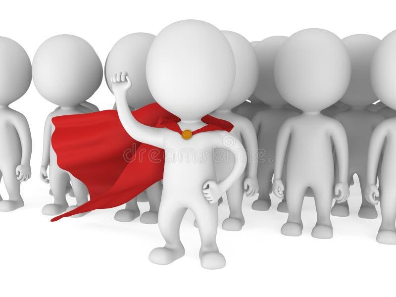 Odważny bohater z czerwoną peleryną przed tłumem royalty ilustracja