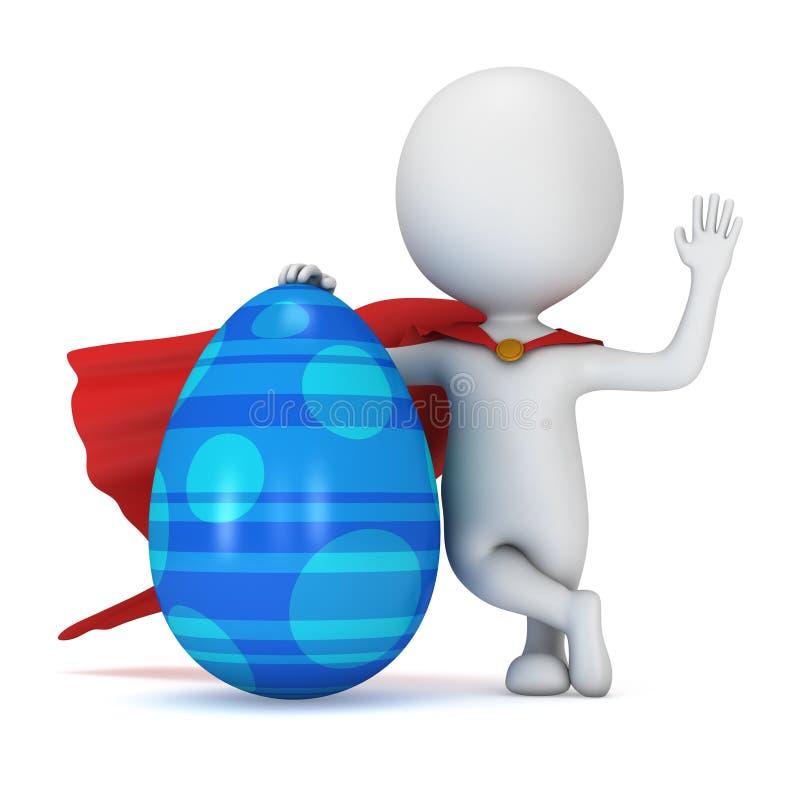 Odważny bohater z czerwoną peleryną z Wielkanocnym jajkiem royalty ilustracja