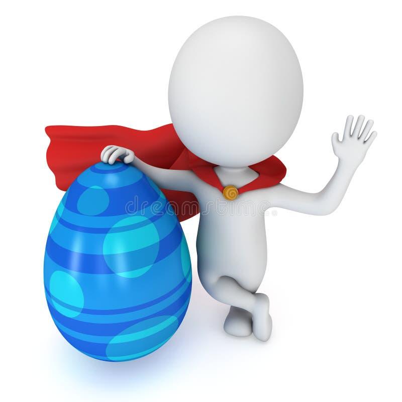 Odważny bohater z czerwoną peleryną z Wielkanocnym jajkiem ilustracja wektor