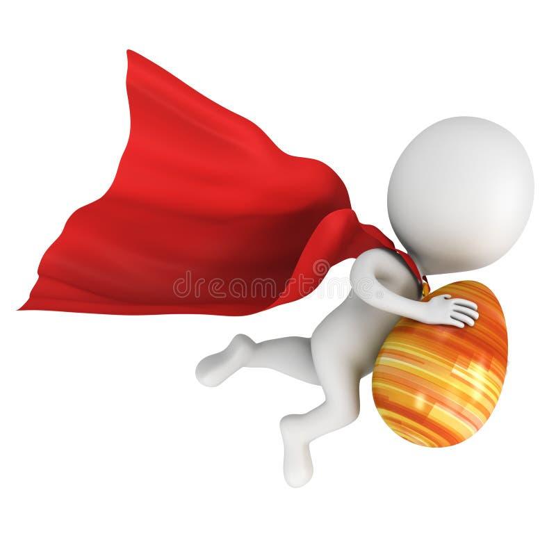 Odważny bohater z czerwoną peleryny komarnicą z Wielkanocnym jajkiem ilustracja wektor