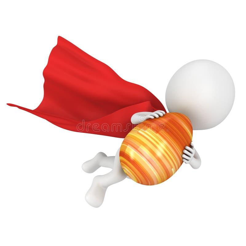 Odważny bohater z czerwoną peleryny komarnicą z Wielkanocnym jajkiem royalty ilustracja