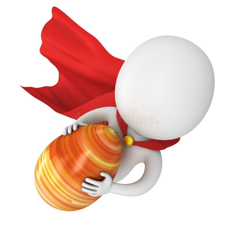 Odważny bohater z czerwoną peleryny komarnicą z Wielkanocnym jajkiem ilustracji