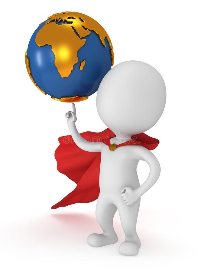 Odważny bohatera chwyta świat na wskazywać palec royalty ilustracja