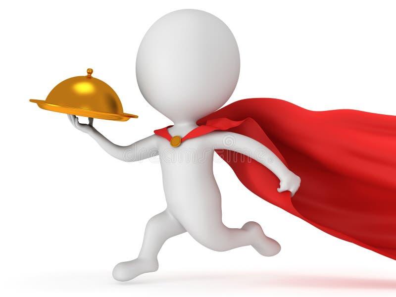 Odważny bohatera kelner z złocistą tacą ilustracja wektor