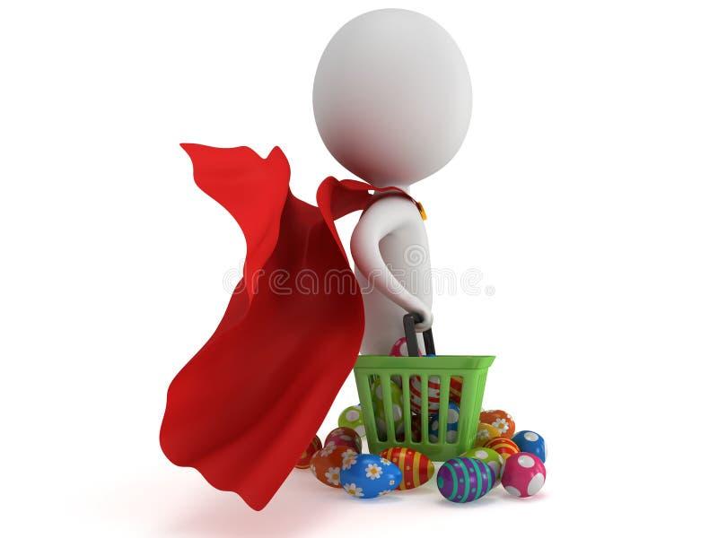 Odważny bohatera kupujący z Wielkanocnymi jajkami royalty ilustracja
