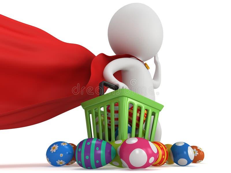Odważny bohatera kupujący z Wielkanocnymi jajkami ilustracji