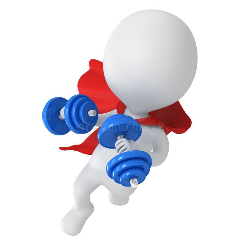 Odważny bohatera latanie z dumbbells ilustracji