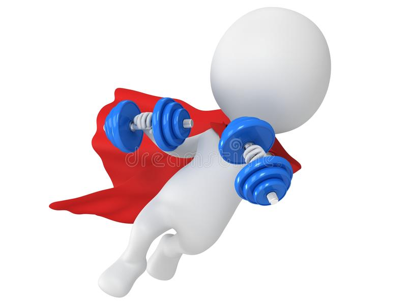 Odważny bohatera latanie z dumbbells ilustracja wektor