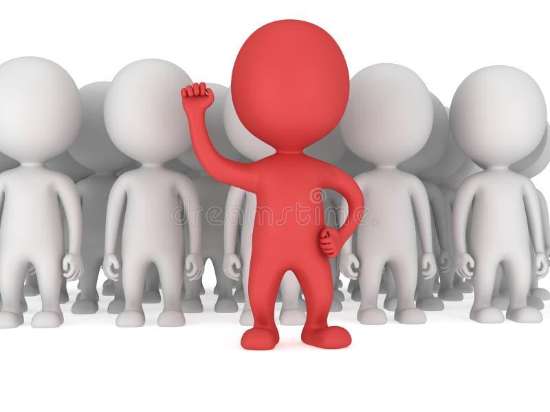 Odważny czerwony lider przed tłumem ilustracja wektor