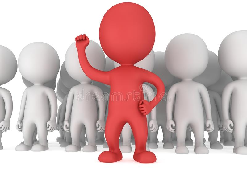 Odważny czerwony lider przed tłumem ilustracji