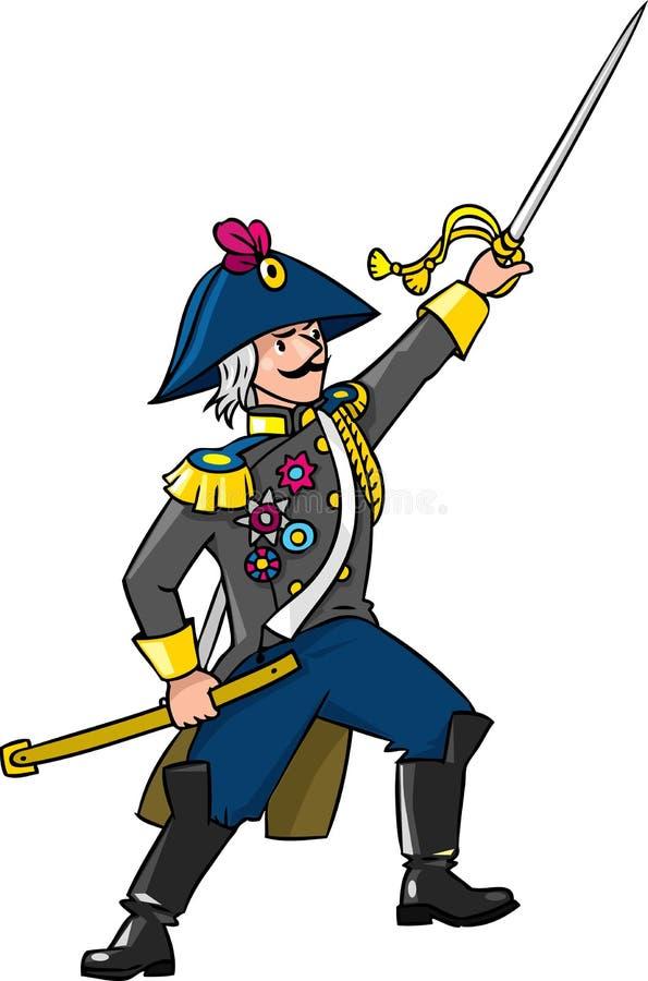 Odważny ogólny lub oficer z kordzikiem ilustracja wektor