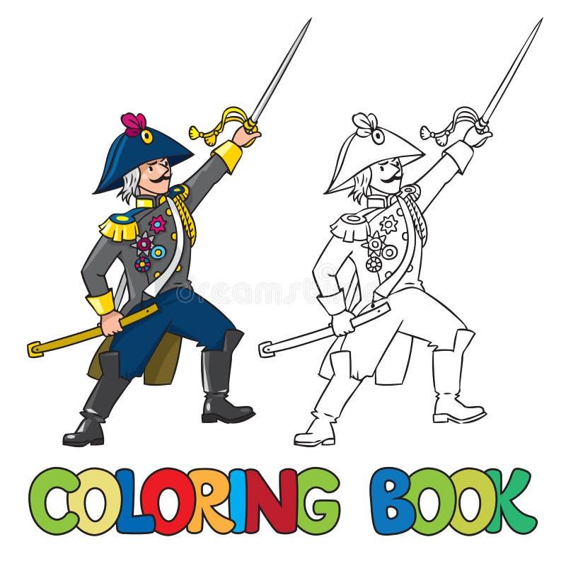 Odważny ogólny lub oficer z kordzikiem książkowa kolorowa kolorystyki grafiki ilustracja ilustracja wektor