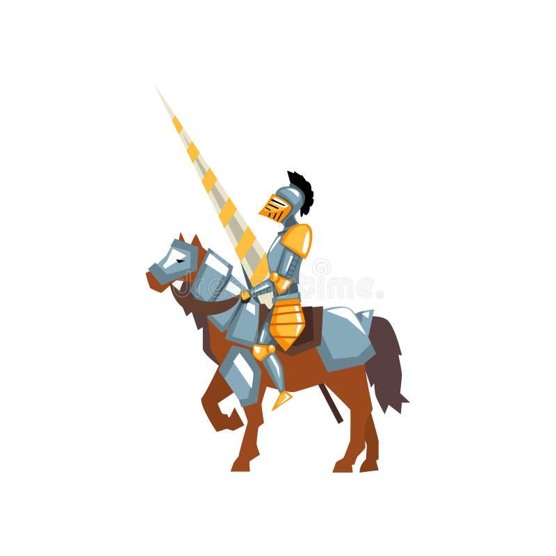 Odważny rycerz w błyszczącym opancerzeniu z lancą w ręce Wojownik na koniu potyka się turniej Płaski wektorowy projekt dla wisząc ilustracji