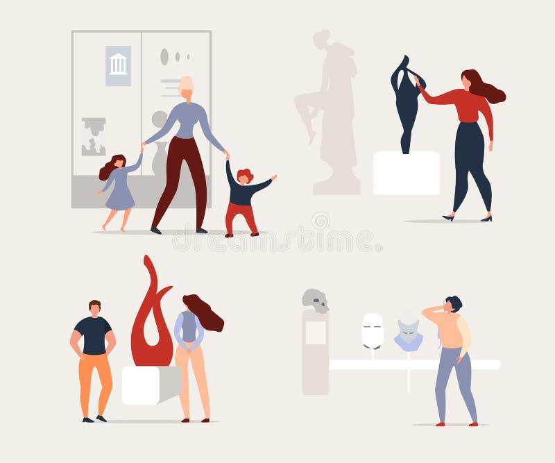 Odwiedzać wystawy sztuki współczesnej muzeum lub galerię royalty ilustracja