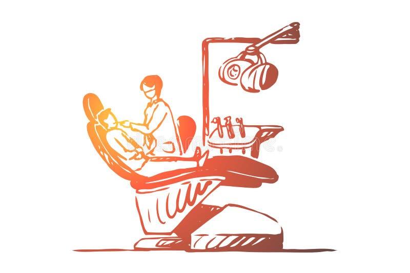 Odwiedza dentysta, cierpliwy obsiadanie w stomatologicznym krze?le, z?by checkup, oralnego zag??bienia egzamin, usta higiena ilustracja wektor