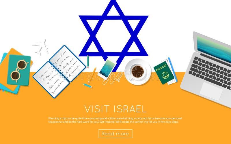 Odwiedza Izrael pojęcie dla twój sieć sztandaru lub drukuje royalty ilustracja