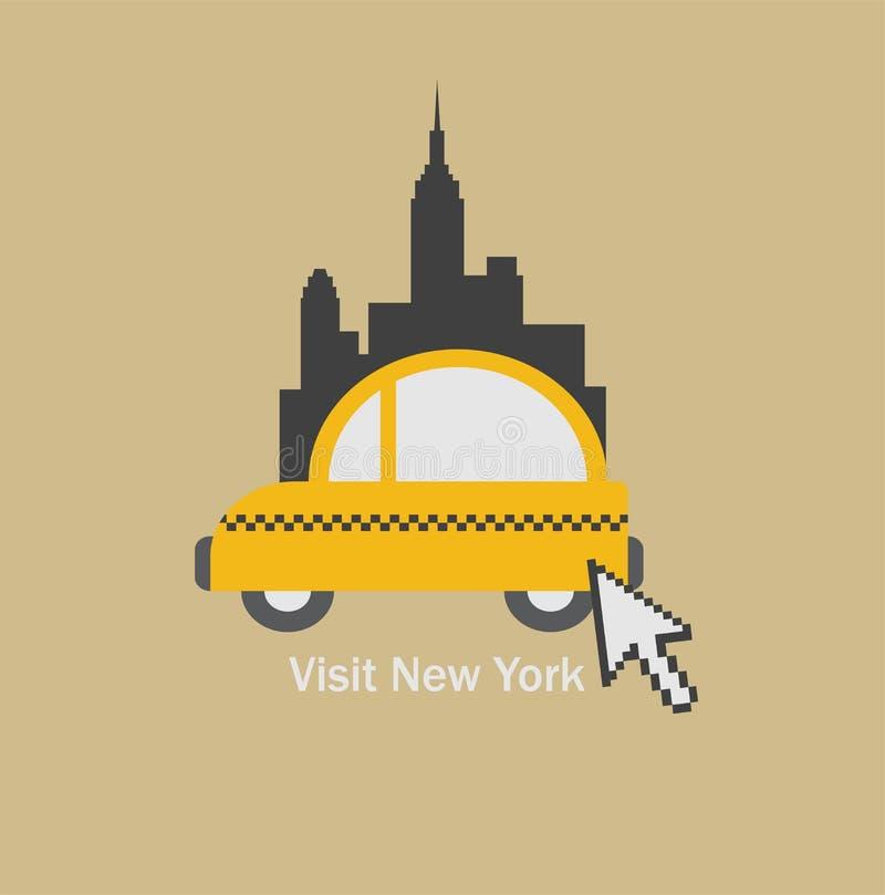 Odwiedza Nowy Jork miasto i wybiera taxi royalty ilustracja