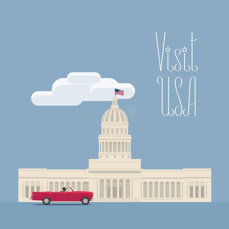 Odwiedza usa, Waszyngtoński wizerunek z Capitol wektorową ilustracją, plakat ilustracja wektor