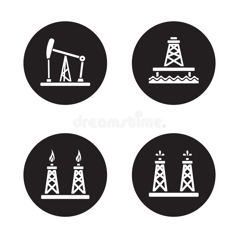 Odwiert naftowy czarne ikony ustawiać royalty ilustracja