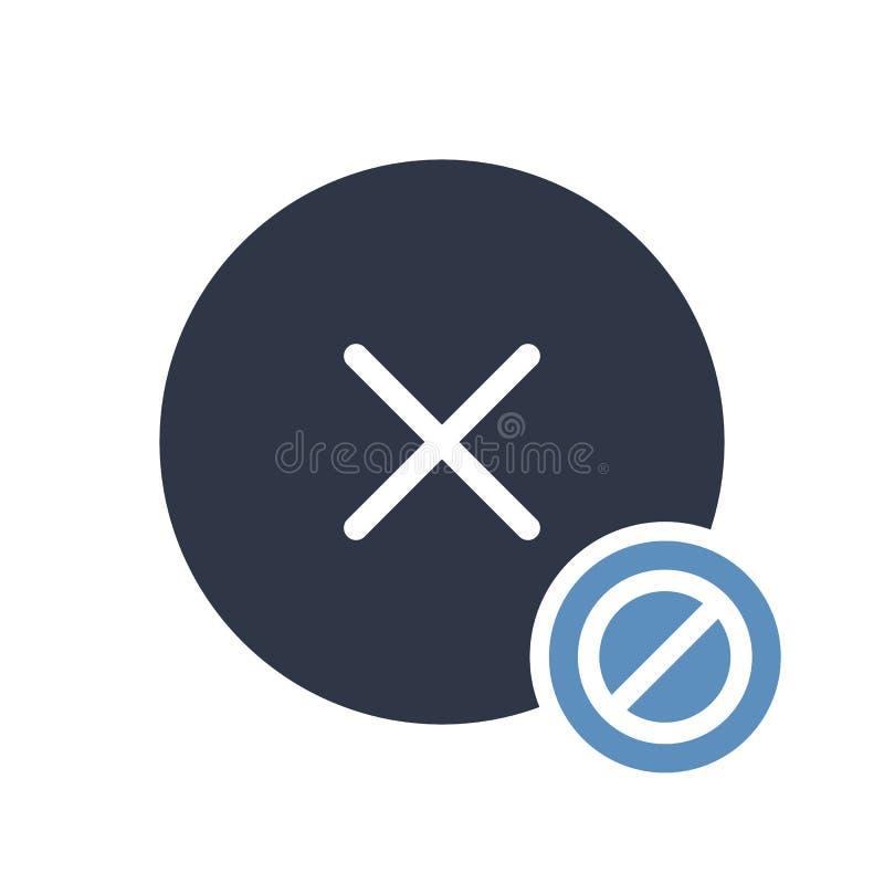 Odwoływa ikonę, znak ikona z pozwolić znakiem Odwoływa ikonę i blok, zakazujący, zabrania symbol ilustracja wektor