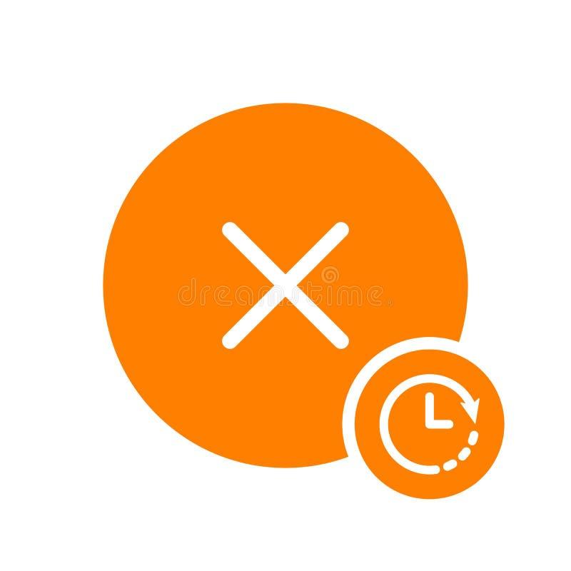 Odwoływa ikonę, znak ikona z zegaru znakiem Odwoływa ikonę i odliczanie, ostateczny termin, rozkład, planistyczny symbol ilustracja wektor