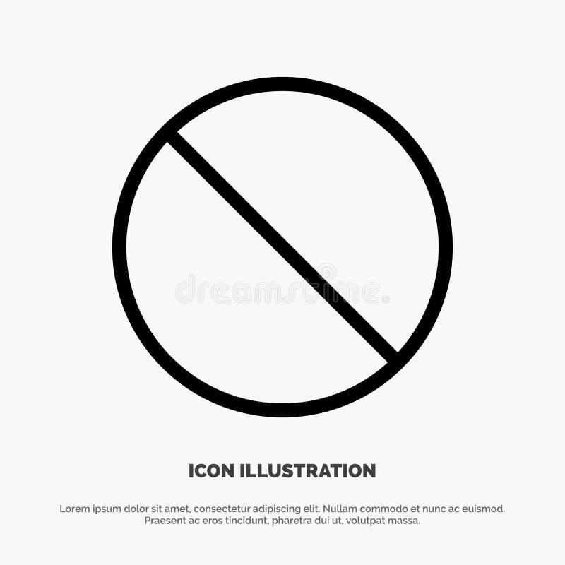 Odwoływa, Zakazujący, Nie, Zabraniający Kreskowy ikona wektor royalty ilustracja
