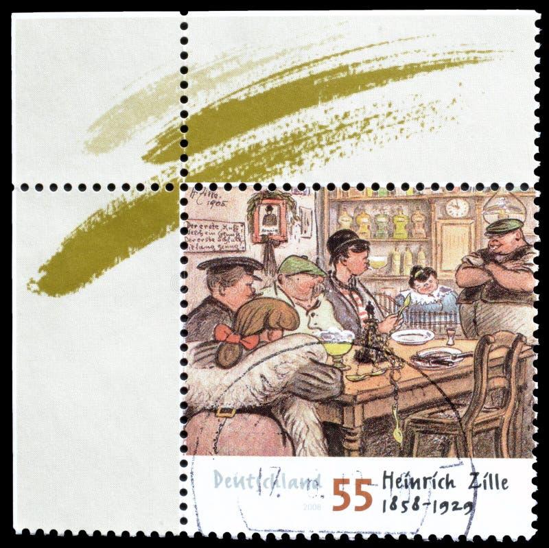 Odwoływający znaczek pocztowy drukujący Niemcy zdjęcie royalty free