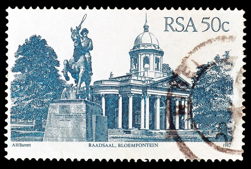 Odwoływający znaczek pocztowy drukujący Południowa Afryka zdjęcia royalty free