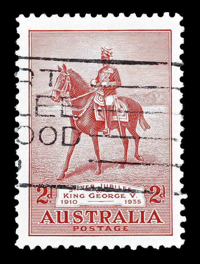Odwo?ywaj?cy znaczek pocztowy drukuj?cy Australia obraz stock