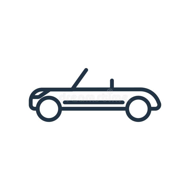 Odwracalny ikona wektor odizolowywający na białym tle, kabrioletu znak ilustracji