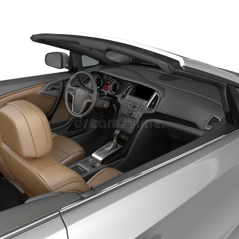 Odwracalny sporta samochodu wnętrze odizolowywający na białym tle ilustracja 3 d ilustracja wektor