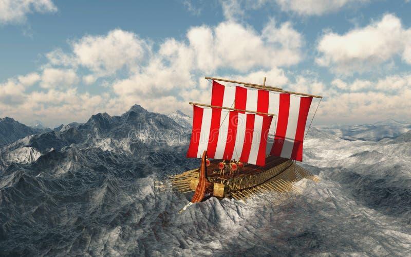Odysseus e seus companheiros no mar tormentoso ilustração royalty free