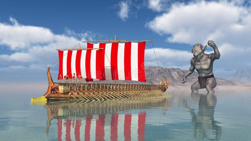 Odysseus på Cyclopesen royaltyfri illustrationer