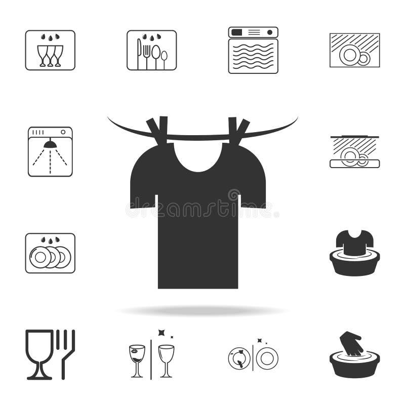 odzieżowa osuszka na linowej ikonie Szczegółowy set pralniane ikony Premii ilości graficzny projekt Jeden inkasowe ikony dla siec royalty ilustracja